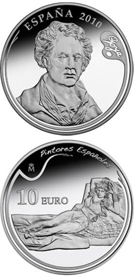 Image of 3rd Series Spanish Painters – Goya - The Clothed Maja – 10 euro coin Spain 2010.  The Silver coin is of Proof quality.