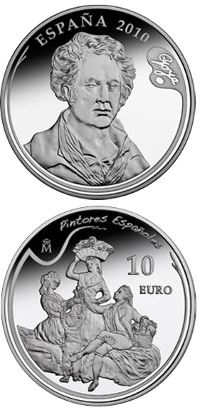Image of 10 euro coin - 3rd Series Spanish Painters – Goya - The Grape Harvest or Autumn | Spain 2010.  The Silver coin is of Proof quality.