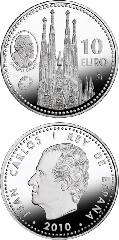 Image of 10 euro coin - Europa Program - Antoni Gaudí | Spain 2010.  The Silver coin is of Proof quality.