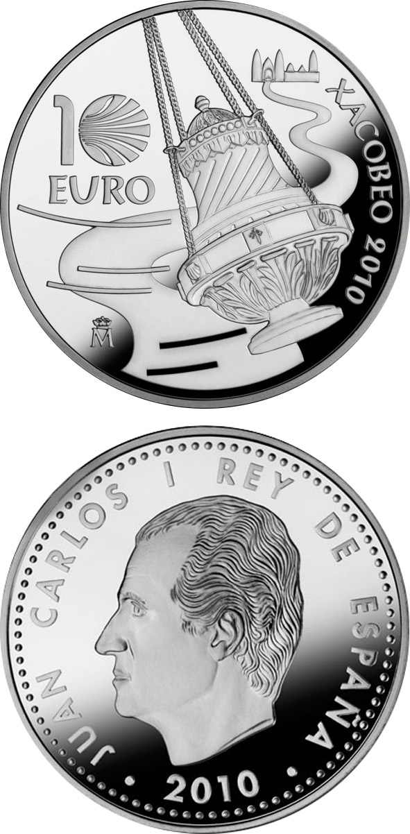 Image of 10 euro coin – Holy Year Xacobeo 2010 | Spain 2010.  The Silver coin is of Proof quality.