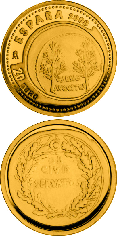 Image of 20 euro coin - 1st Series Numismatic Treasures | Spain 2008.  The Gold coin is of Proof quality.