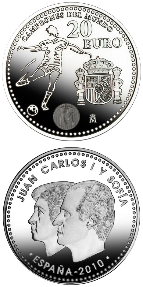 Image of 20 euro coin – 20 Euros - Champions 2010 | Spain 2010.  The Silver coin is of BU, UNC quality.