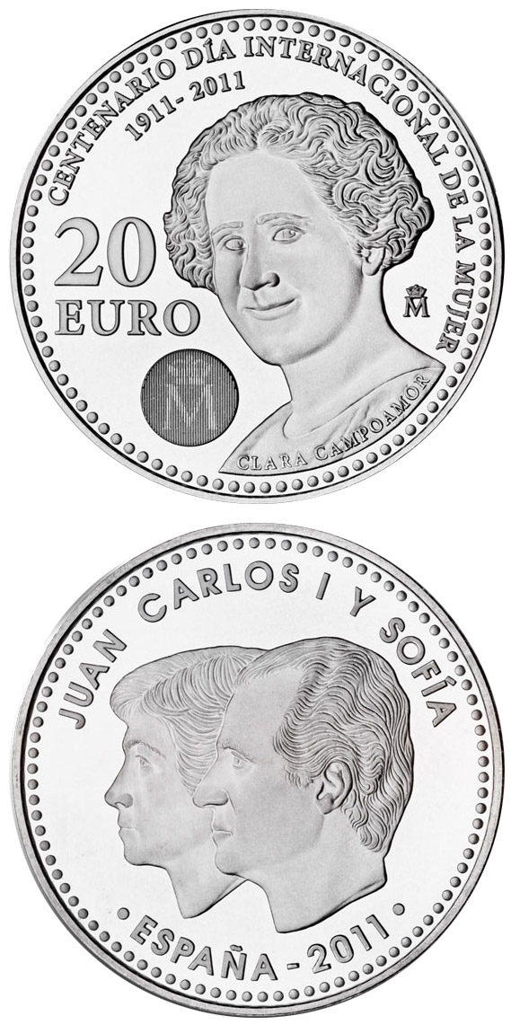 Image of 20 euro coin - Centennial of International Women's day 1911-2011 | Spain 2011.  The Silver coin is of BU, UNC quality.