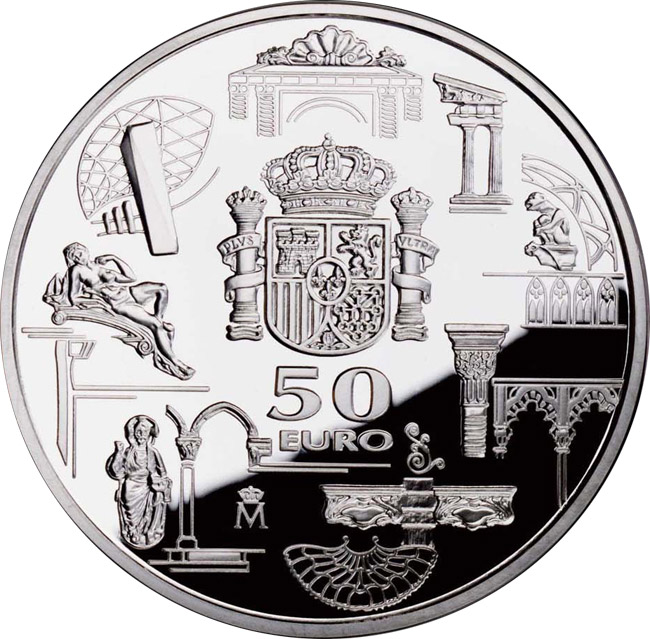 Image of 50 euro coin - First anniversary of the euro | Spain 2003.  The Silver coin is of Proof quality.