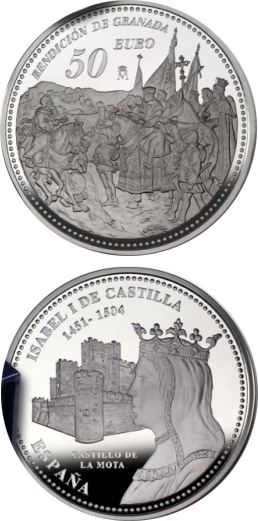 Image of 50 euro coin 5th Centenary of Isabella I of Castile | Spain 2004.  The Silver coin is of Proof quality.