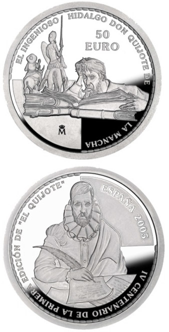 Image of a coin 50 euro | Spain | 4th Centenary of the publication of Don Quixote | 2005