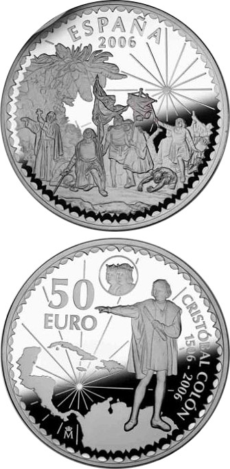 Image of 50 euro coin - 5th Anniversary of the Euro | Spain 2007.  The Silver coin is of Proof quality.