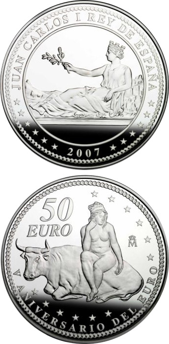 Image of 50 euro coin - Christopher Columbus 5th Centenary | Spain 2006.  The Silver coin is of Proof quality.