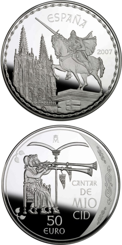Image of 50 euro coin – The Song of My Cid | Spain 2007.  The Silver coin is of Proof quality.