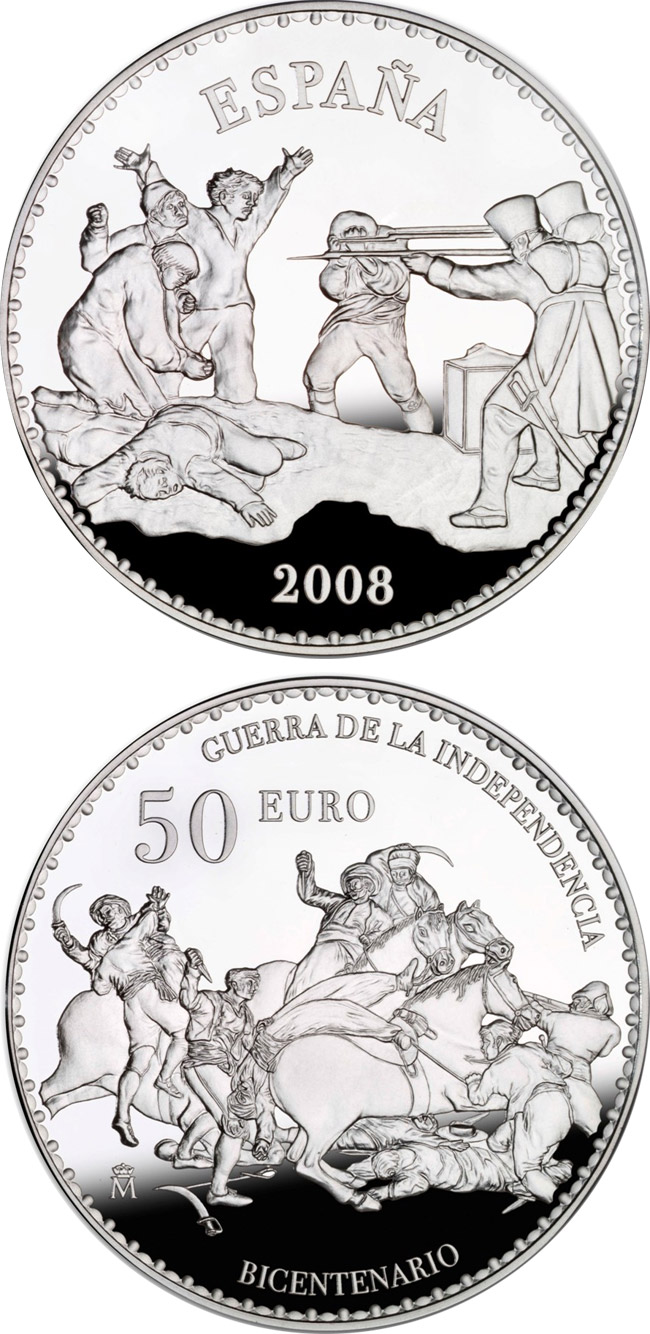 Image of Bicentenary War of Independence – 50 euro coin Spain 2008.  The Silver coin is of Proof quality.