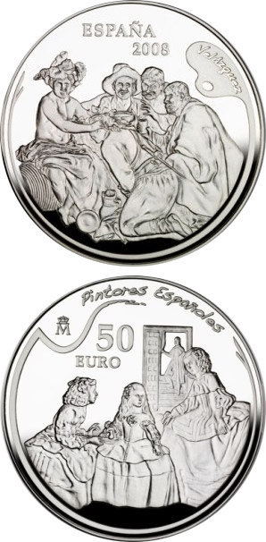 Image of 50 euro coin – Spanish Painters Series - Velázquez | Spain 2008.  The Silver coin is of Proof quality.