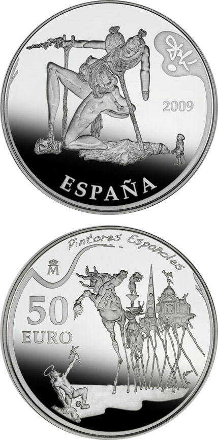 Image of 50 euro coin - 2nd Series Spanish Painters - Dalí | Spain 2009.  The Silver coin is of Proof quality.