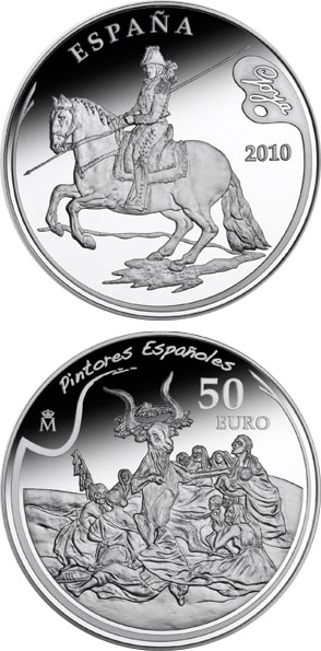 Image of 50 euro coin - 3rd Series Spanish Painters – Goya | Spain 2010.  The Silver coin is of Proof quality.