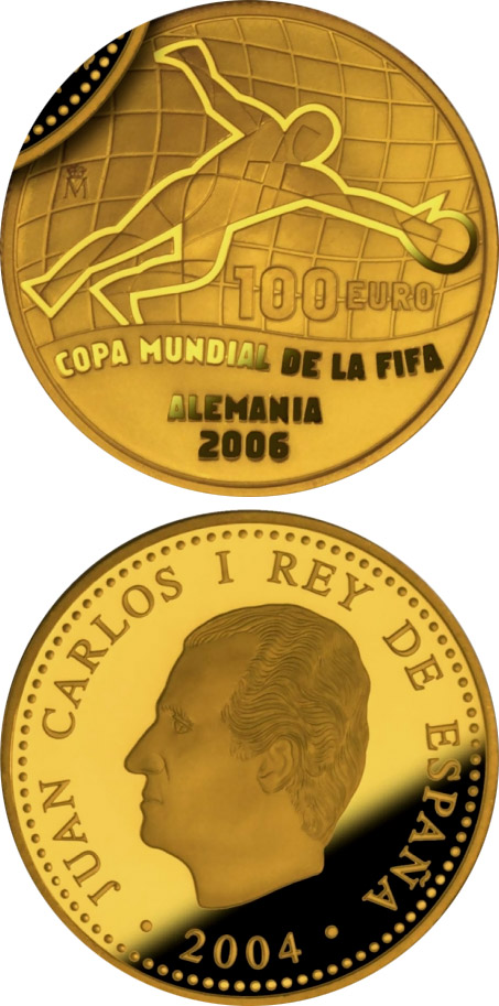 Image of FIFA World Cup Germany 2006 – Issue 2004 – 100 euro coin Spain 2004.  The Gold coin is of Proof quality.