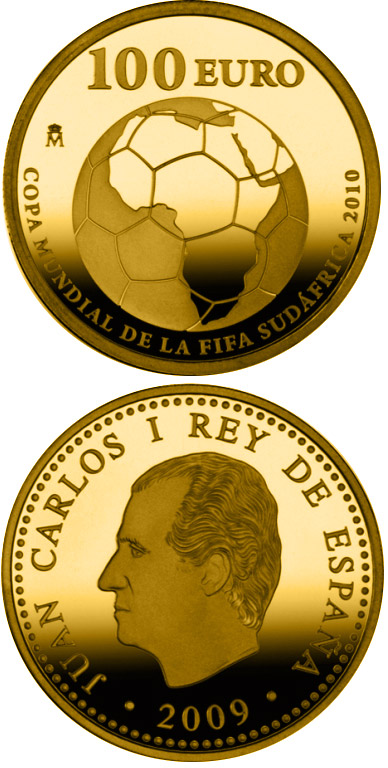 Image of 100 euro coin - FIFA World Cup South Africa 2010 | Spain 2009.  The Gold coin is of Proof quality.