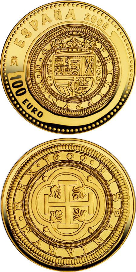 Image of 100 euro coin - 2nd Series Numismatic Treasures | Spain 2009.  The Gold coin is of Proof quality.