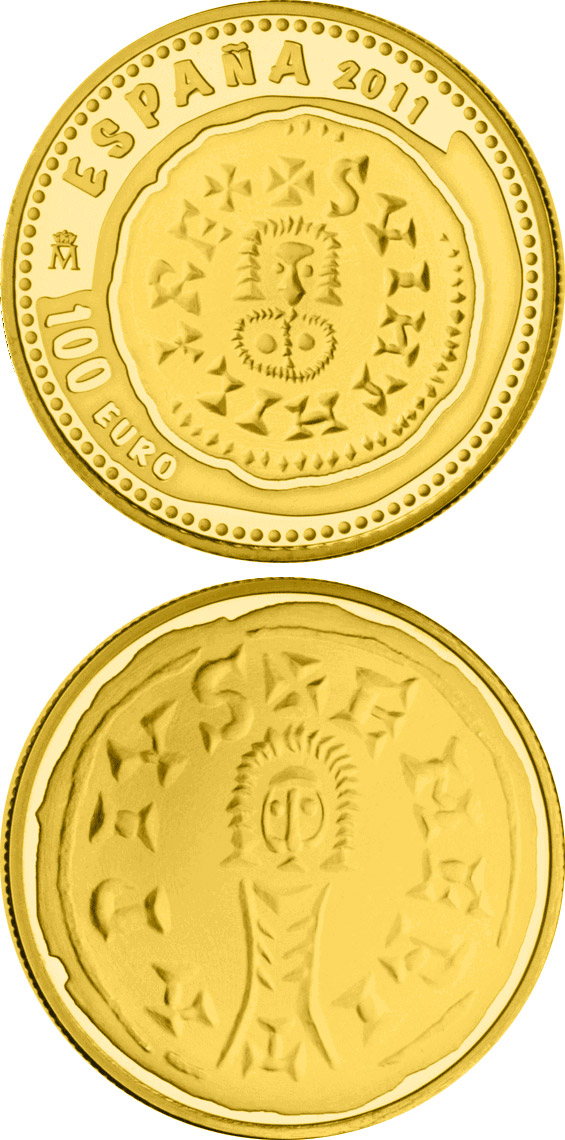 Image of 100 euro coin - 3rd Series Numismatic Treasures – 2 Escudos - Swinthila Visigothic Tremissis | Spain 2011.  The Gold coin is of Proof quality.