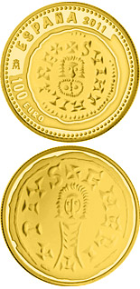 100 euro 3rd Series Numismatic Treasures – 2 Escudos - Swinthila Visigothic Tremissis - 2011 - Series: Gold 100 euro coins - Spain