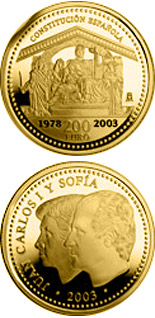 Image of 200 euro coin - 25th Anniversary of the Spanish Constitution | Spain 2003.  The Gold coin is of Proof quality.