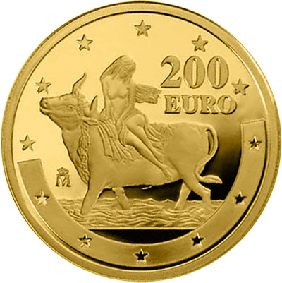 Image of 200 euro coin - First anniversary of the euro | Spain 2003.  The Gold coin is of Proof quality.