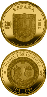 200 euro 5th Centenary of Isabella I of Castile - 2004 - Series: Gold 200 euro coins - Spain