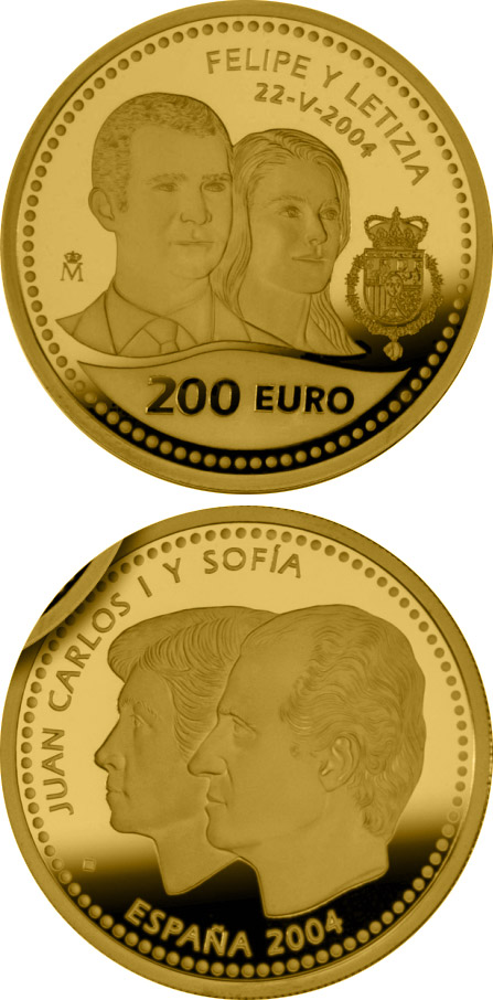 200 euro Wedding of the Prince of Asturias - 2004 - Series: Gold 200 euro coins - Spain