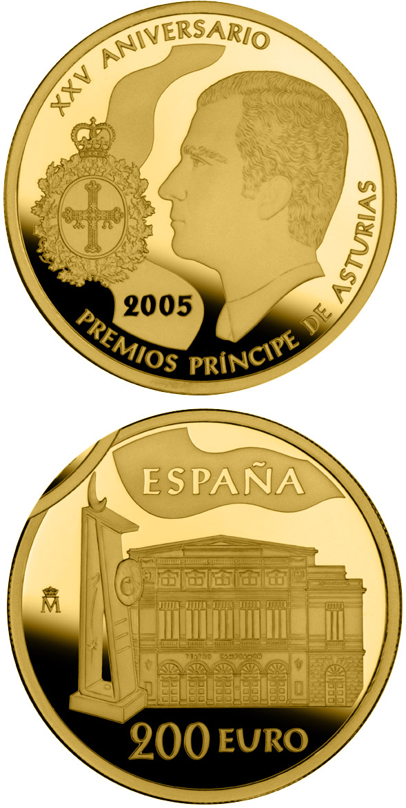 Image of 200 euro coin - 25th Anniversary of the Prince Asturias Awards | Spain 2005.  The Gold coin is of Proof quality.