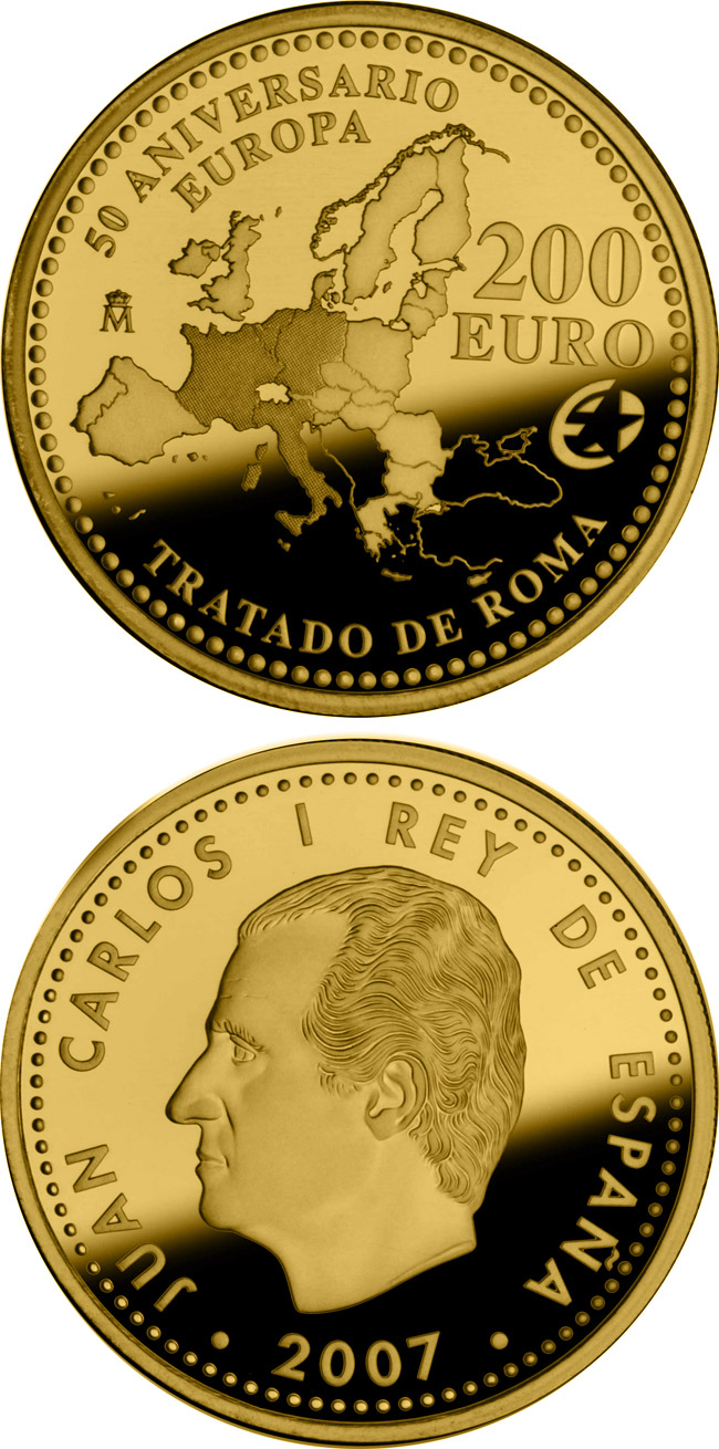 Image of 200 euro coin - The Europa Program – 50th Anniversary of the Treaty of Rome | Spain 2007.  The Gold coin is of Proof quality.