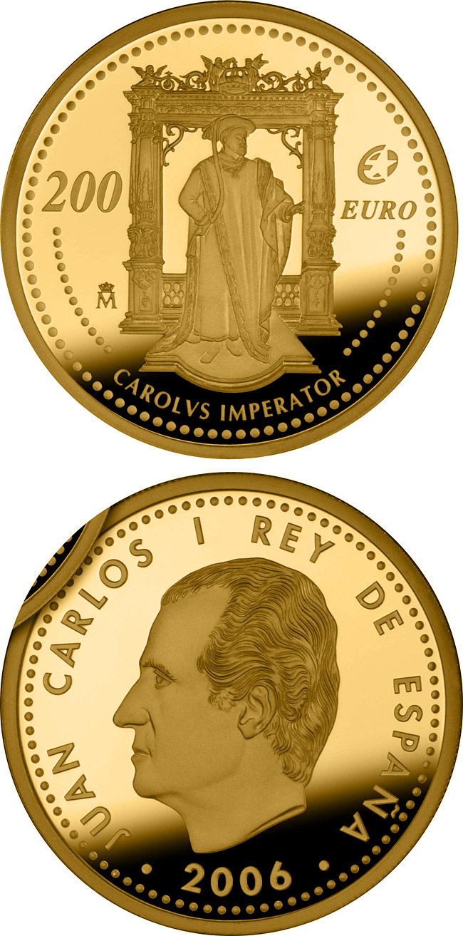 Image of 200 euro coin - The Europa Program – Charles V | Spain 2006.  The Gold coin is of Proof quality.