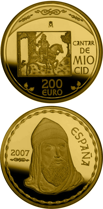 Image of 200 euro coin - The Song of My Cid | Spain 2007.  The Gold coin is of Proof quality.