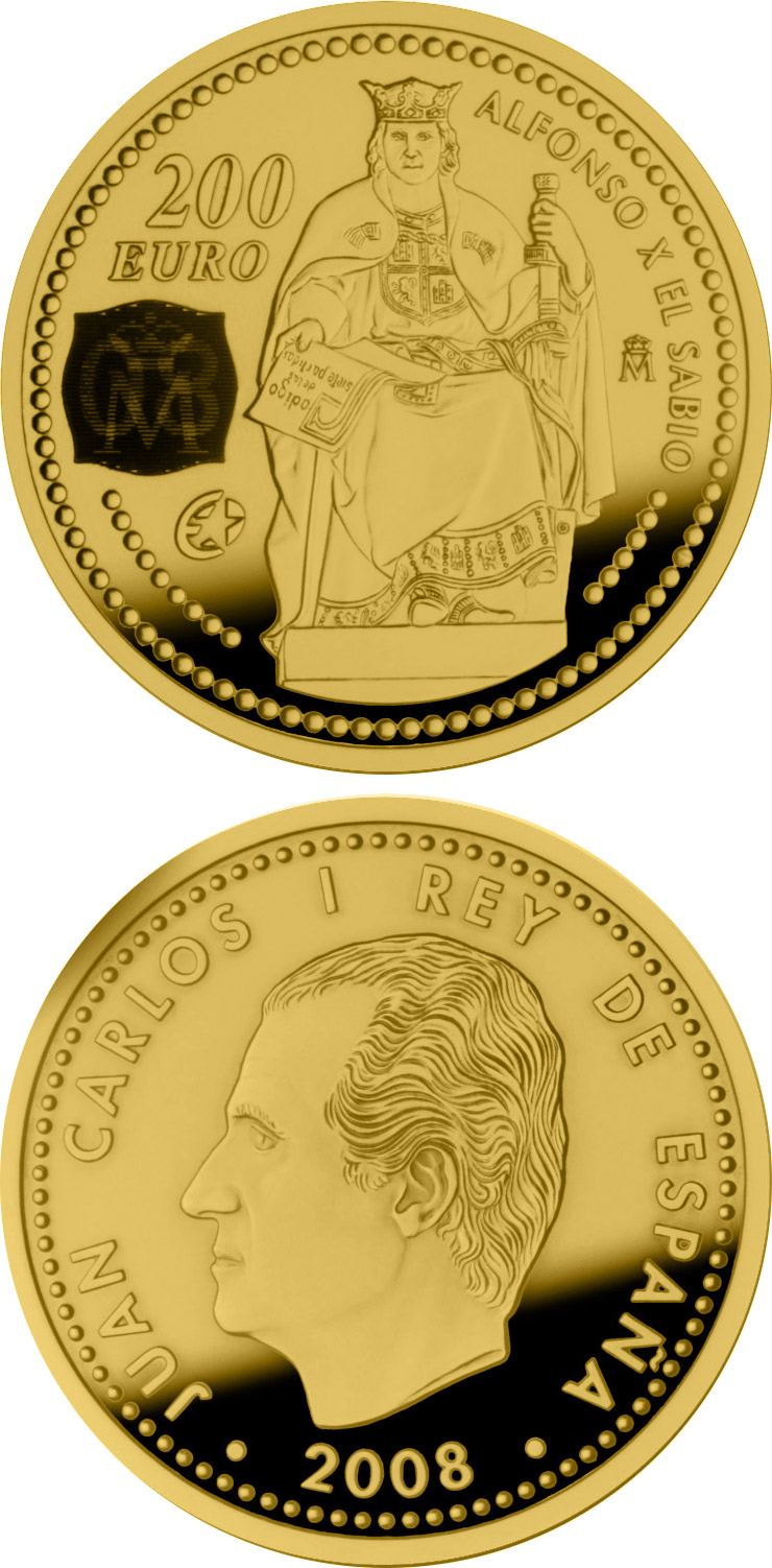 Image of 200 euro coin - Europa Program-Alphonse X the Wise | Spain 2008.  The Gold coin is of Proof quality.