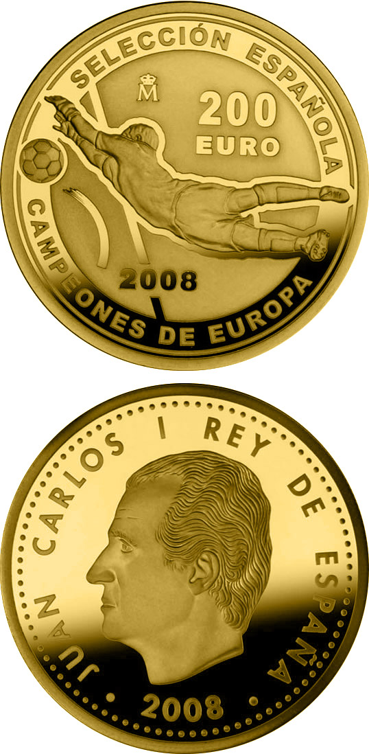 Image of 200 euro coin – European Champions 2008 | Spain 2008.  The Gold coin is of Proof quality.
