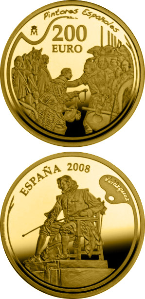 Image of Spanish Painters Series - Velázquez – 200 euro coin Spain 2008.  The Gold coin is of Proof quality.