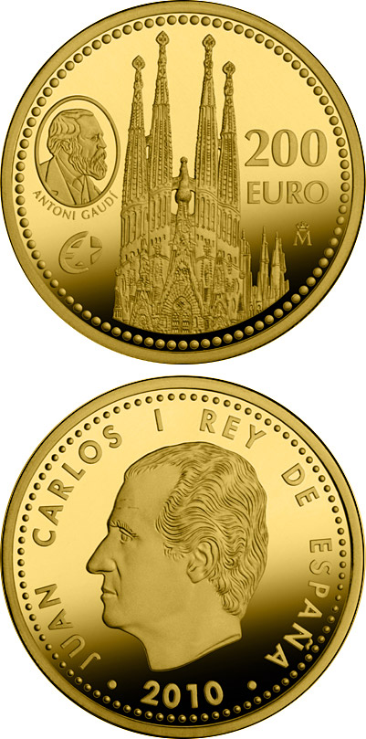 Image of 200 euro coin Europa Program - Antoni Gaudí | Spain 2010.  The Gold coin is of Proof quality.