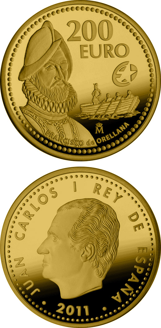 Image of 200 euro coin - Europa Program - Francisco de Orellana | Spain 2011.  The Gold coin is of Proof quality.