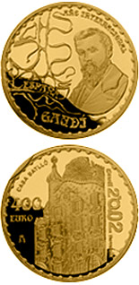 Image of 400 euro coin - 150. birthday of Antoni Gaudi - Casa Batllo  | Spain 2002.  The Gold coin is of Proof quality.
