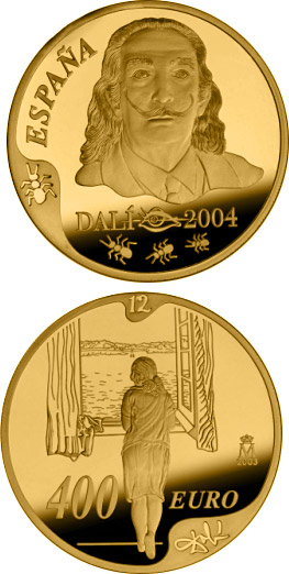 Image of a coin 400 euro | Spain | Centenary of the birth of Salvador Dalí | 2004