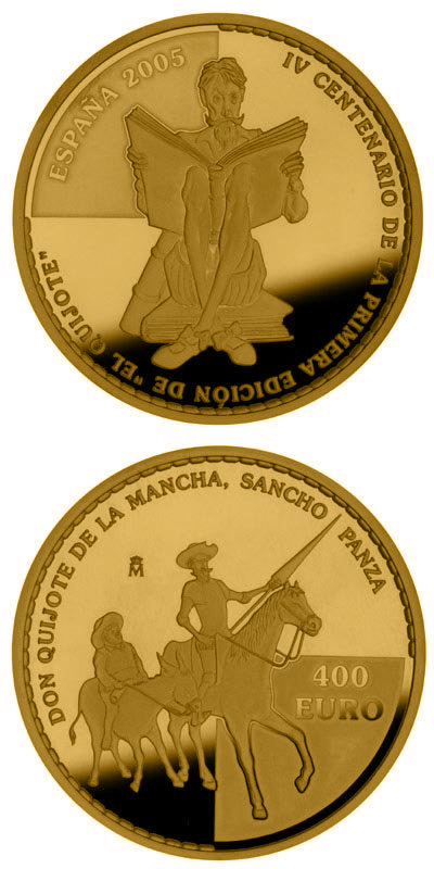 Image of a coin 400 euro | Spain | 400th anniversary of the publication of Don Quixote | 2005