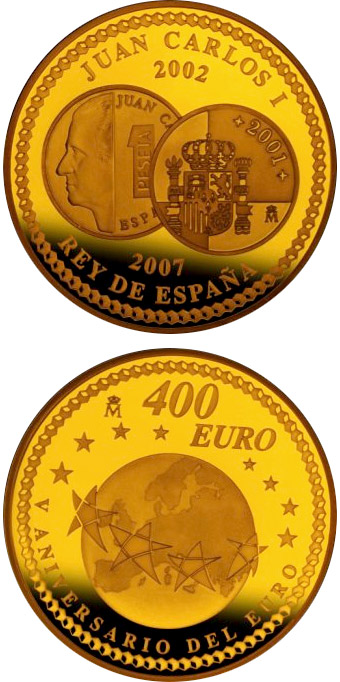 Image of 400 euro coin – 5th Anniversary of the Euro | Spain 2007.  The Gold coin is of Proof quality.