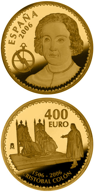 Image of a coin 400 euro | Spain | 500th anniversary of the death of Christopher Columbus  | 2006