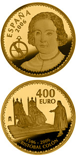 400 euro coin 500th anniversary of the death of Christopher Columbus  | Spain 2006