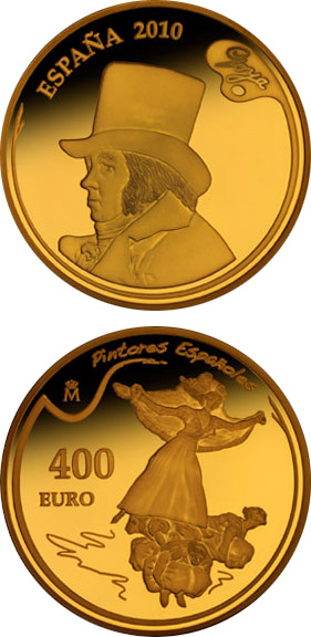 Image of 400 euro coin – 3rd Series Spanish Painters - Goya | Spain 2010.  The Gold coin is of Proof quality.