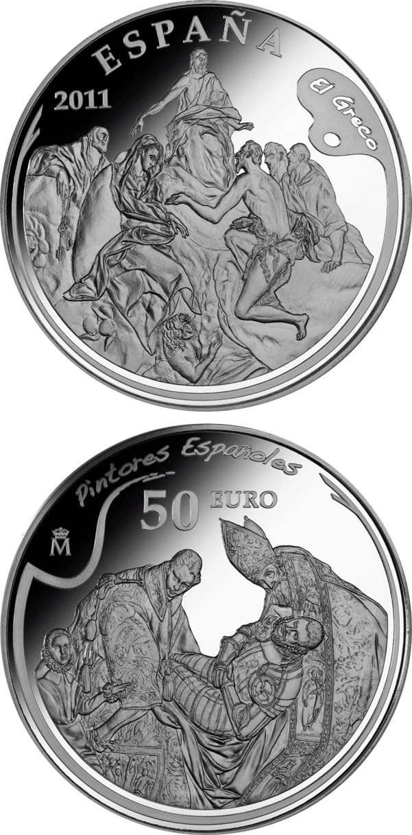 Image of 4th Series Spanish Painters - El Greco – 50 euro coin Spain 2011.  The Silver coin is of Proof quality.
