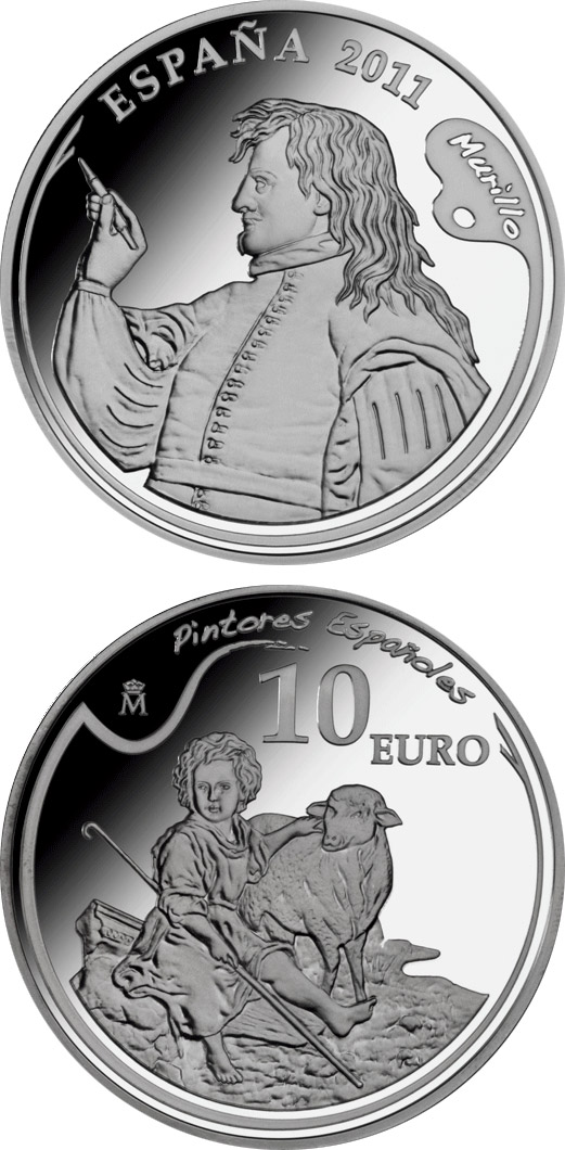 Image of 4th Series Spanish Painters - Murillo – 10 euro coin Spain 2011.  The Silver coin is of Proof quality.