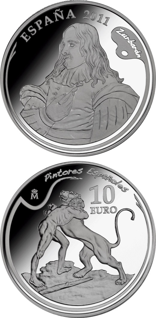 Image of 10 euro coin - 4th Series Spanish Painters - Zurbarán | Spain 2011.  The Silver coin is of Proof quality.