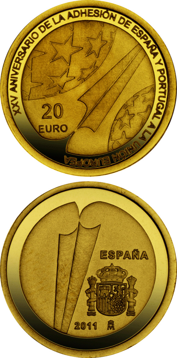Image of 20 euro coin – 25th Anniversary of the Accession of Spain and Portugal to the EU  | Spain 2011.  The Gold coin is of Proof quality.