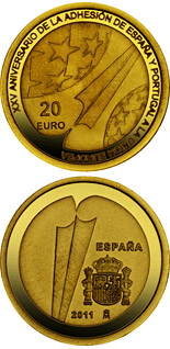 20 euro 25th Anniversary of the Accession of Spain and Portugal to the EU  - 2011 - Series: Gold 20 euro coins - Spain