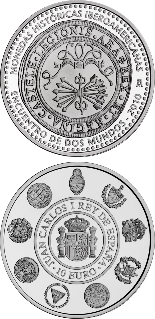 Image of 10 euro coin - Historic Ibero-American Coins | Spain 2010.  The Silver coin is of Proof quality.