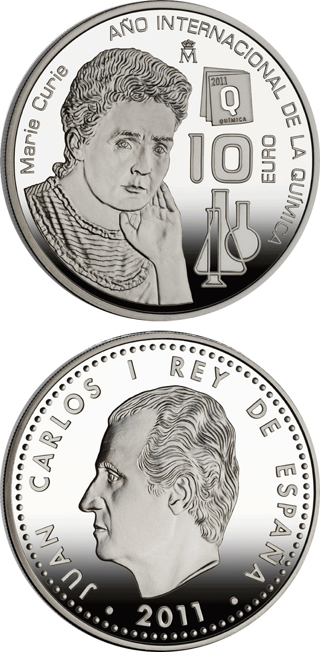Image of 10 euro coin - International Year of Chemistry - Marie Curie | Spain 2011.  The Silver coin is of Proof quality.