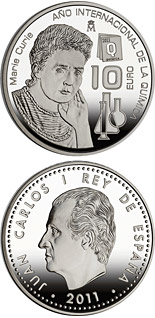 10 euro coin International Year of Chemistry - Marie Curie | Spain 2011